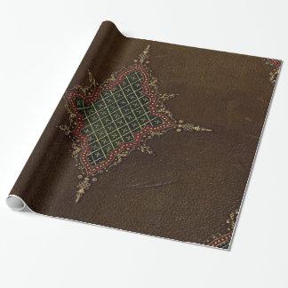 Papier Cadeau Texture grunge attachée de livre de cuir