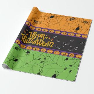 Papier Cadeau Toiles d'araignée vertes oranges effrayantes de