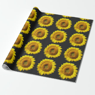 Papier Cadeau Tournesol floral moderne mignon de motif sur le