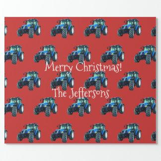 Papier Cadeau Tracteurs bleus de ferme sur Noël rouge