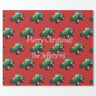 Papier Cadeau Tracteurs verts de ferme sur Noël rouge