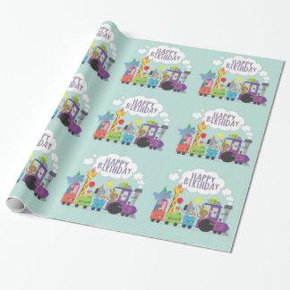 Papier Cadeau Train animal mignon de joyeux anniversaire