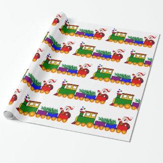 Papier Cadeau Train avec le papier d'emballage du père noël pour