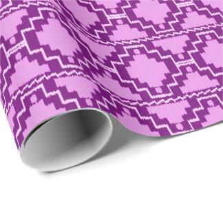 Papier Cadeau Tribal aztèque d'Ikat - pourpre et violette