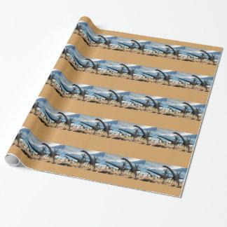 Papier Cadeau Troupeau de Diplodocus dans le désert