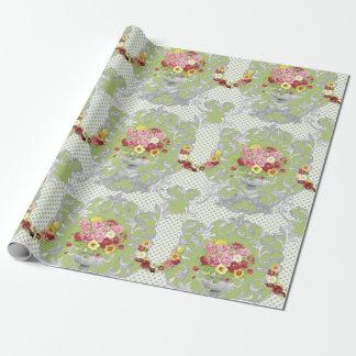 Papier Cadeau Urne florale verte chic minable