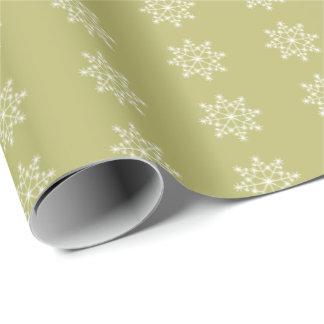 Papier Cadeau Vacances de Noël de vert olive de Noël de flocon