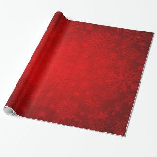 Papier Cadeau Vacances de Noël - rouge vibrant avec des flocons