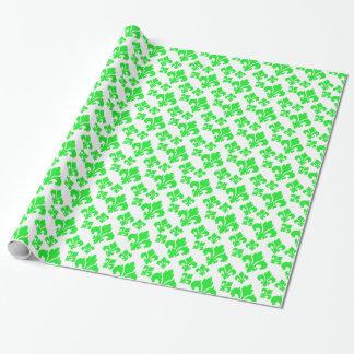 Papier Cadeau Vert de Fleur De Lis 4