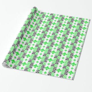 Papier Cadeau Vert de la rayure 1a de Fleur