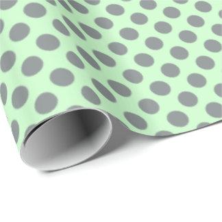 Papier Cadeau Vert de menthe avec le pois gris