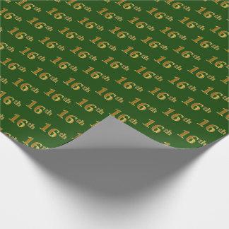 Papier Cadeau Vert, événement d'or de Faux 16ème (seizième)