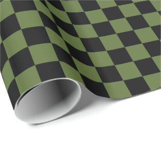 Papier Cadeau Vert olive/noir Checkered