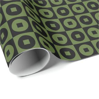 Papier Cadeau Vert olive personnalisable/Carré-Cercle noir