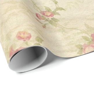 Papier Cadeau Vieux motif affligé de tissu de roses vintages