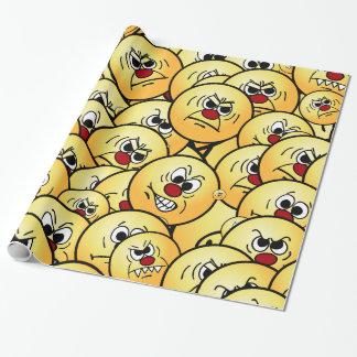 Papier Cadeau Visages souriants fâchés de Grumpeys réglés