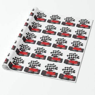 Papier Cadeau Voiture de course rouge avec le drapeau Checkered