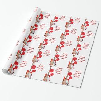 Papier de soeur, rouge et blanc de guitare et de papier cadeau