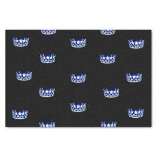 Papier de soie de soie bleu de couronne de la Mlle