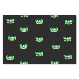 Papier de soie de soie vert de couronne de la Mlle