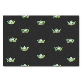 Papier de soie de soie vert de couronne de Mlle