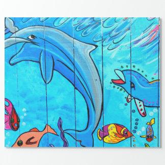 papier d'emballage bleu riant de dauphins papier cadeau
