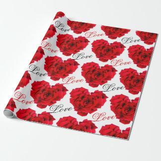 Papier d'emballage d'amour rose en forme de coeur papier cadeau noël