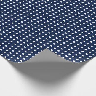 Papier d'emballage de bleu marine avec le petit papiers cadeaux noël