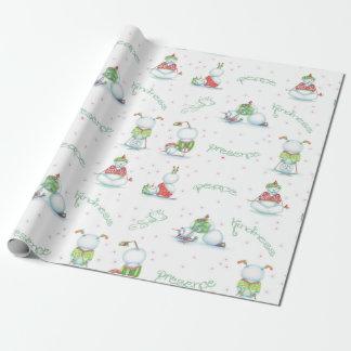 Papier d'emballage de bonhomme de neige de yoga papier cadeau