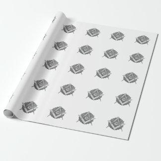Papier d'emballage de carré et de boussole papier cadeau
