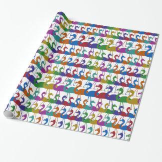 Papier d'emballage de flamant multicolore papier cadeau