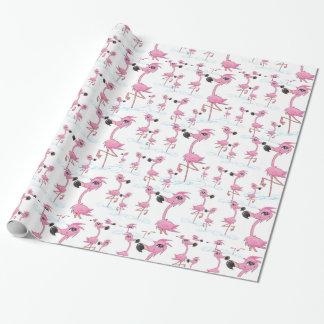 Papier d'emballage de flamants roses mignons papier cadeau