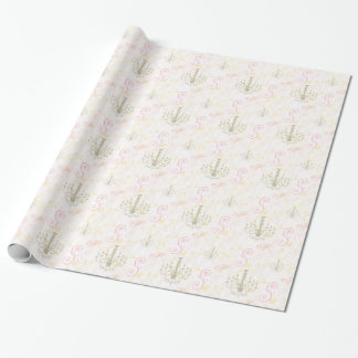 Papier d'emballage de lustre de rose de vignes papier cadeau