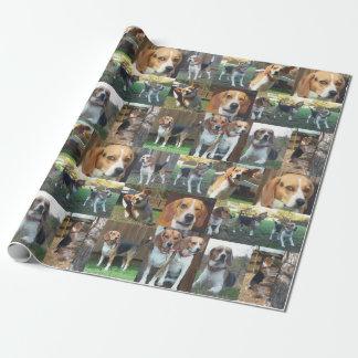 Papier d'emballage de montage de beagle à hurler papier cadeau