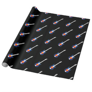 Papier d'emballage de motif de guitare de drapeau papier cadeau
