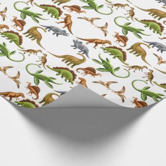 Papier d'emballage de Paleo de dinosaure Papier Cadeau Noël