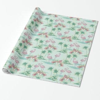 Papier d'emballage de rétro île de flamant papiers cadeaux