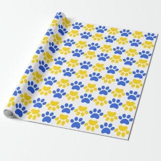 Papier d'emballage d'empreinte de patte de chats papier cadeau