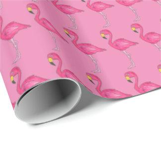 Papier d'emballage d'oiseau tropical de flamant de papier cadeau