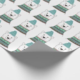 Papier d'emballage d'ours blanc papiers cadeaux