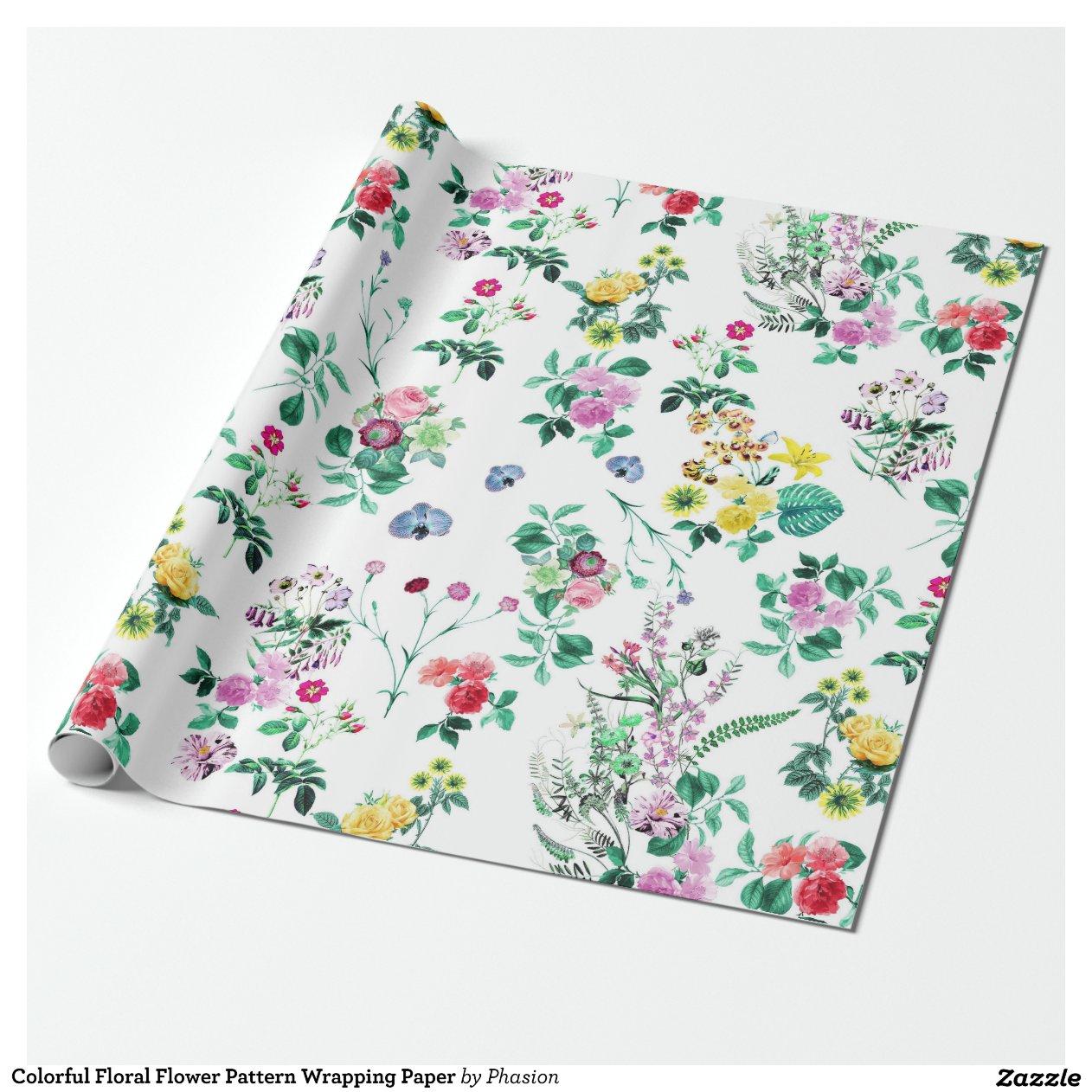 Papier d 39 emballage floral color de motif de fleur papiers - Ou acheter du papier cadeau ...