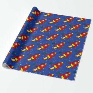 """Papier d'emballage mat jaune rouge 30"""" de Rocket Papiers Cadeaux"""