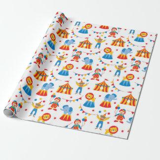 Papier d'emballage mignon d'animal de cirque papier cadeau