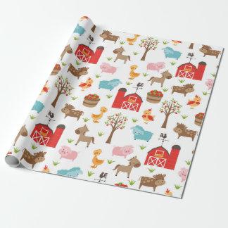 Papier d'emballage mignon d'animaux de grange et papier cadeau