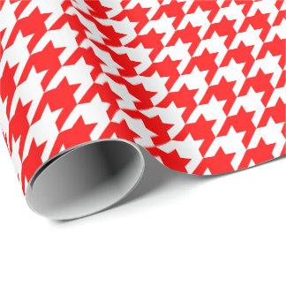 Papier d'emballage moyen de pied-de-poule rouge et papier cadeau