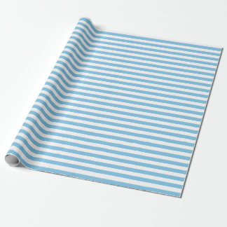 Papier d'emballage moyen de rayures bleu-clair et papier cadeau