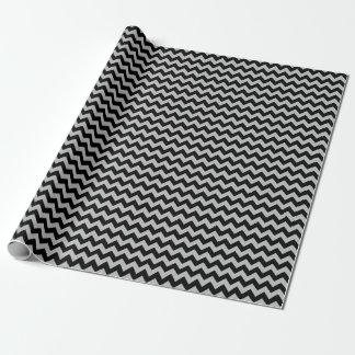 Papier d'emballage moyen noir et gris de Chevron Papier Cadeau