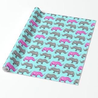Papier d'emballage tatoué par rhinocéros rose de papier cadeau