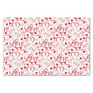 Papier Mousseline Amour cursif et Saint-Valentin rouge de coeurs