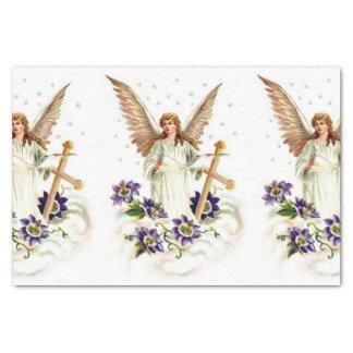 Papier Mousseline Ange avec des fleurs de croix et de clématite